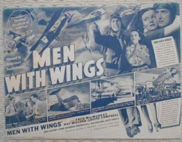 Men With Wings, Flyer/Herald, Fred MacMurray, Ray Milland, '38